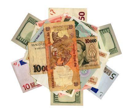 International de papier-monnaie en mouvement, isolés.