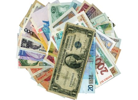 International paper currencies in motion,  isolated. photo