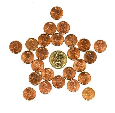 U.S. national star. Figure of nickel coins. photo