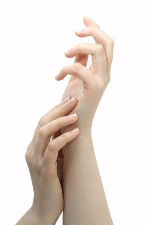 Mooie vrouwelijke handsl. Manicure en Gebaren.