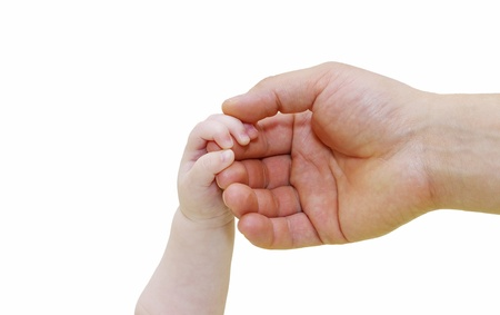 grasping: Newborn grasping parents finger