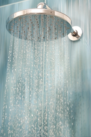 shower head: Head shower while running water  Stock Photo