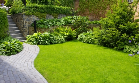 vegetable gardening: Garden stone path with grass growing up between the stones