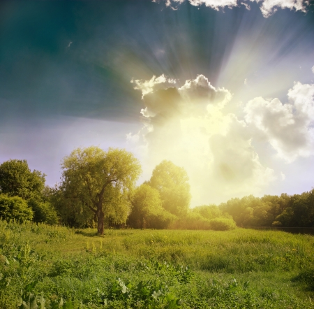 Green meadow under blue sky with clouds Stock Photo - 18054171