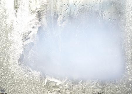 Bevroren glas van een raam Stockfoto