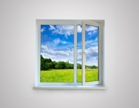 New closed plastic glass window frame isolated on the white background  photo