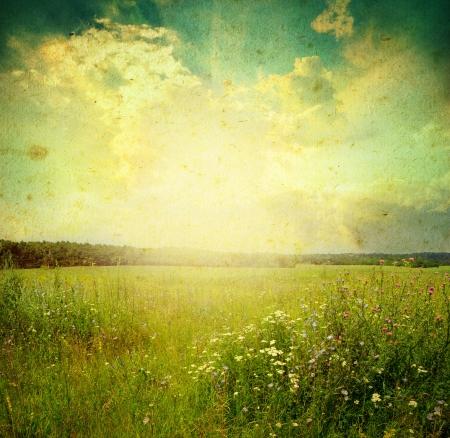 paisaje vintage: Prado verde bajo el cielo azul con nubes Foto de archivo