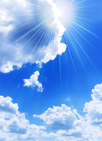 Beautiful blue sky with rays of light Stock Photo