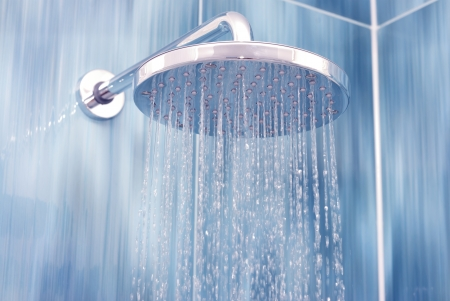 Head shower while running water  Stock Photo
