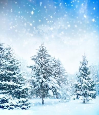 neige qui tombe: sapins couverts de neige en hiver sur la montagne