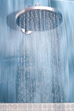 Head shower while running water  Stock Photo