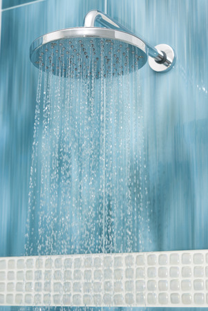 shower stall: Head shower while running water  Stock Photo