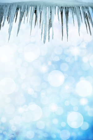 frigid: icicles sparkling white ice hanging down Stock Photo