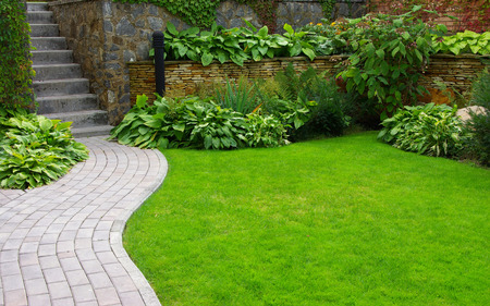 front or back yard: Garden stone path with grass growing up between the stones