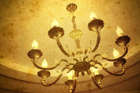 vintage chandelier: Vintage chandelier hanging under a ceiling in home