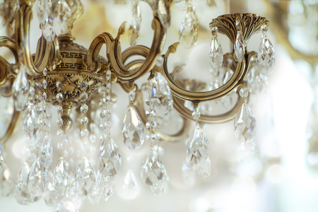 chandelier background: Vintage crystal chandelier details