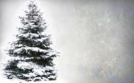 Kerstboom - over grunge achtergrond wordt geïsoleerd die
