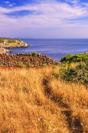 sea cliff: Salento coast, Bay Uluzzo Lecce, ITALY. In the background the city of Gallipoli. Stock Photo