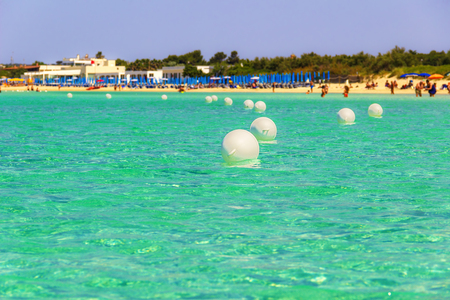 clear waters: The most beautiful sandy beaches of Apulia: Porto Cesareo marine, coast.ITALY Salento (Lecce) .It is a tourist resort thanks to its sunny beaches extending for 17 Kilometres and its clear waters.