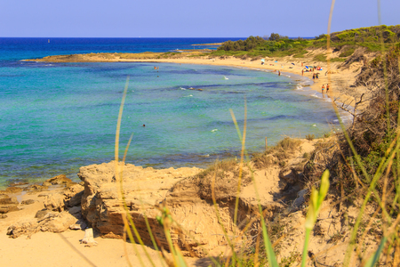 holydays: Summer seascape: Nature Reserve of Torre Guaceto.BRINDISI (Apulia) -Italy- Race to the watchtower. Mediterranean maquis: a nature sanctuary between the land and the sea. Stock Photo