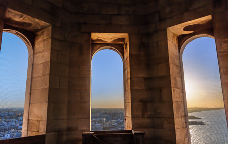 pilgrim journey: Wiews from the bell tower of the Cathedral of Trani.Italy, Apulia.Panoramic view of Trani at sunset: views from the bell tower of the Cathedral of Trani (San Nicola Pellegrino). Stock Photo