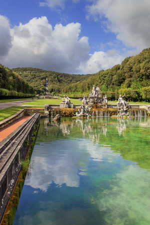 fertility goddess: Caserta, Italy, May 1, 2016: Caserta Royal Palace Garden. In the foreground The Fountain of Ceres..It is a former royal residence in Caserta constructed for the Bourbon kings of Naples.The fountain depicts Ceres, the goddess of fertility of the fields, su Editorial