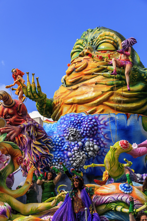 Putignano, Apulia, Italy - February 15, 2015: carnival floats, monster of papier mache.Carnival of Putignano: allegorical float of deadly sins. ITALY (Apulia)