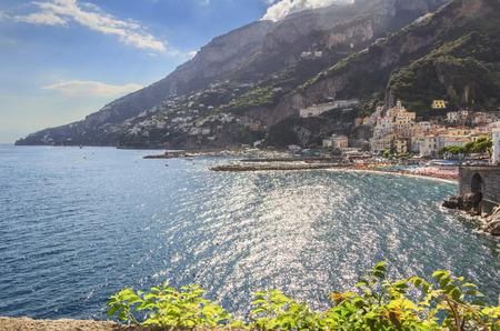 Amalfi Coast (Amalfi Coast): panoramic view of Positano town.Italy (Campania) .In the background the beach and the tourist port.