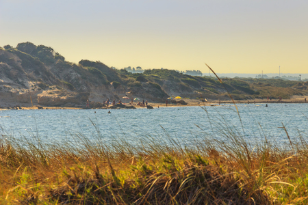 Summer seascape: Torre Guaceto Nature Reserve .BRINDISI (Apulia) -ITALY-Mediterranean maquis: a nature sanctuary between the land and the sea.