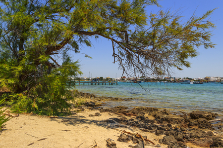 Summer holidays.Ionian coast of Salento: Porto Cesareo (Lecce) ITALY .- (Apulia) -In the background Porto Cesareo town seen from the Big Island (or Big Island) Nature Reserve. Stock Photo