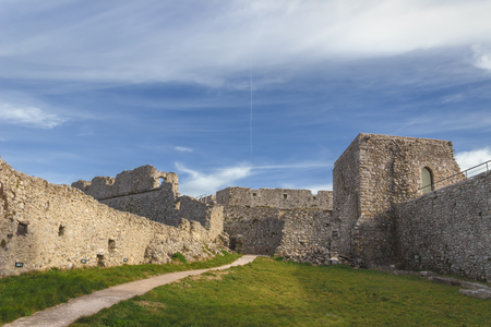 View of the Monte SantAngelo Castle.It is an architecture in the Apulian city of Monte SantAngelo, Italy. Ruins of the inner courtyard of the fortress.