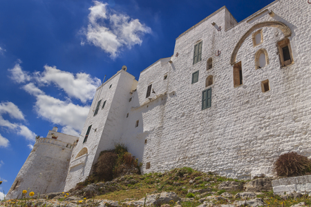 Ostuni,the withe city: medieval town walls .-ITALY(Apulia)-Apsidal area of the church of St. James of Compostela. Stock Photo