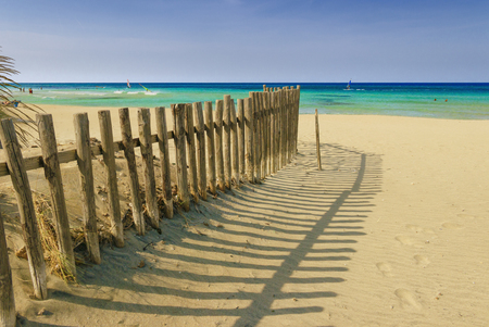 Summertime.The Regional Natural Park Dune Costiere (Torre Canne): fence between sea dunes. (Apulia)-ITALY- The park covers the territories of Ostuni and Fasano along eight kilometers of coastline. Stock Photo
