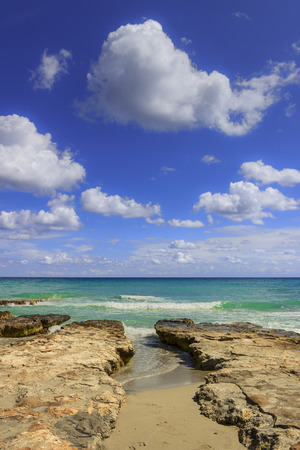 Summmer on solitary beach. Salento coast:  its characterized by small sandy coves and dunes.( Apulia,ITALY).