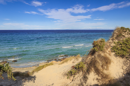 The most beautiful sandy beaches of Apulia. Salento coast: Frassanito Beach (ITALY). From Torre DellOrso and Otranto the sandy coastline is characterized by dunes covered with Mediterranean maquis.