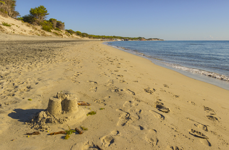 Summertime. The most beautiful sand beaches of Apulia: Alimini bay,Salento coast. Italy (Lecce). It is a vast sandy coast protected by pine forests that grow from dunes.