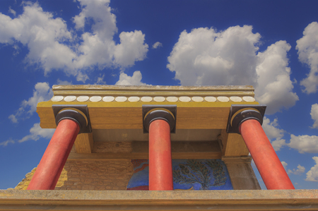 Knossos palace: the North Entrance of the  with charging bull fresco;its the largest Bronze Age archaeological site on Crete (Greece), ceremonial and political centre of the Minoan civilization.