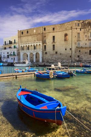 Vieux port de Monopoli province de Bari, région des Pouilles, sud de l'Italie : vue sur la vieille ville avec des bateaux de pêche et d'aviron, Italie. Banque d'images