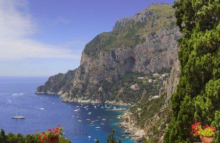 Panoramic view of Marina Piccola and Tyrrhenian sea in Capri island, Italy.