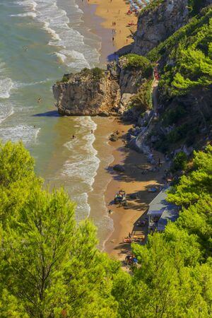 View of the bay of Peschici: Jalillo beach, Italy (Puglia). Peschici is famous for its seaside resorts, its territory belongs to the Gargano National Park. 版權商用圖片
