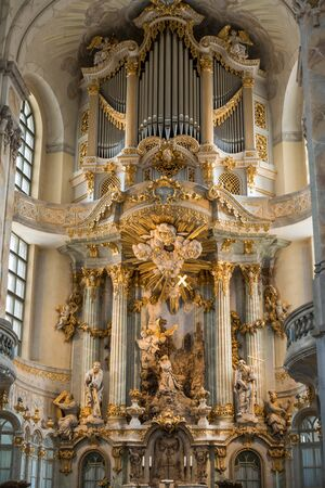 20.07.2018 Dresden, Germany - Dresden, Germany. The interior of the Frauenkirche cathedral.