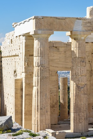 Ionic column background in Acropolis in Greece Archivio Fotografico