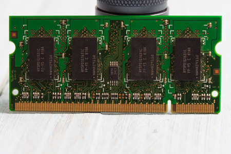 Laptop memory module SO-DIMM close-up 스톡 콘텐츠
