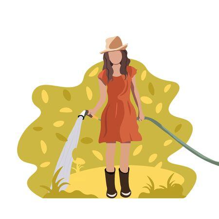 girl watering the garden