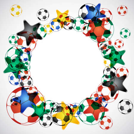 Soccer Balls Circle in South Africa Colors Illustration
