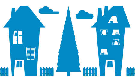 houses and tree silhouettes
