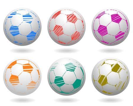 Soccer Balls Icon Set Vector