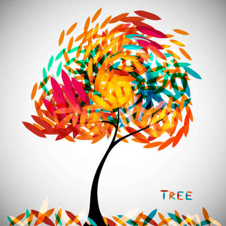 autum: abstract colorful tree Illustration