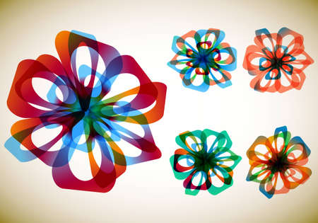 Set of five abstract flowers Vector