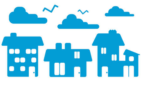 Blue Houses Silhouette Vector